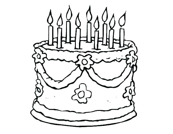600x464 Wedding Cake Coloring Pages Picture Of Birthday Cake To Color
