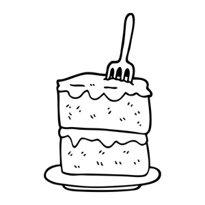 300x300 Black And White Cartoon Slice Of Cake Royalty Free Stock Image
