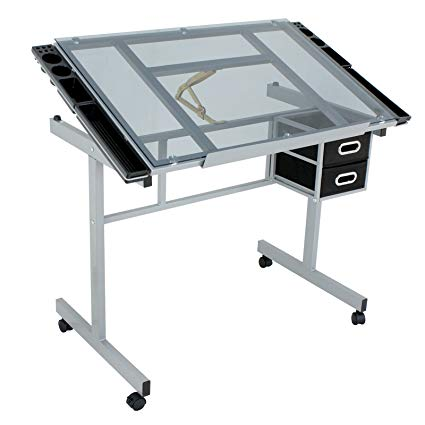 425x425 Zeny Adjustable Drawing Table Rolling Drafting Desk