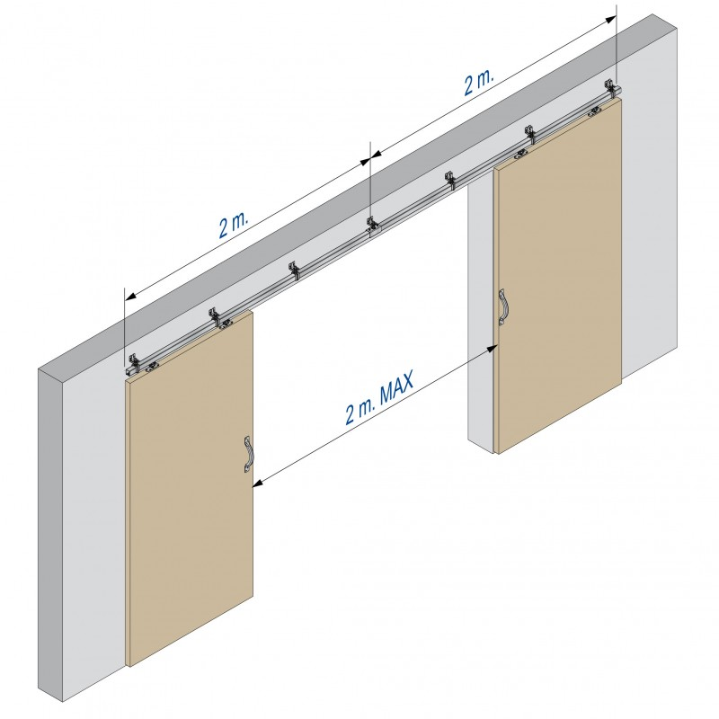 800x800 Heavy Sliding Door Hardware Kit In Wall Mount Tracks