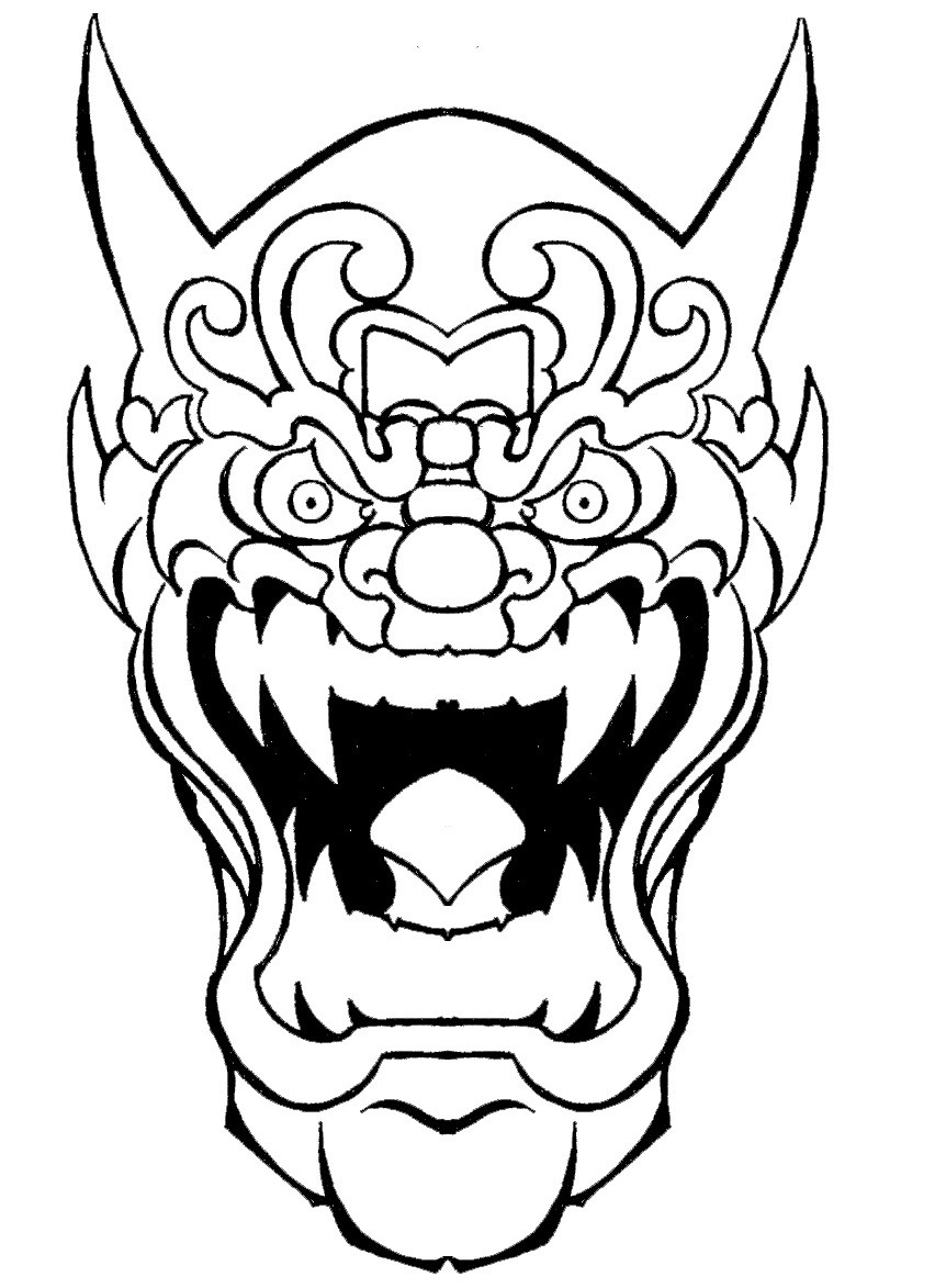 852x1173 Oni Samurai Mask Drawing
