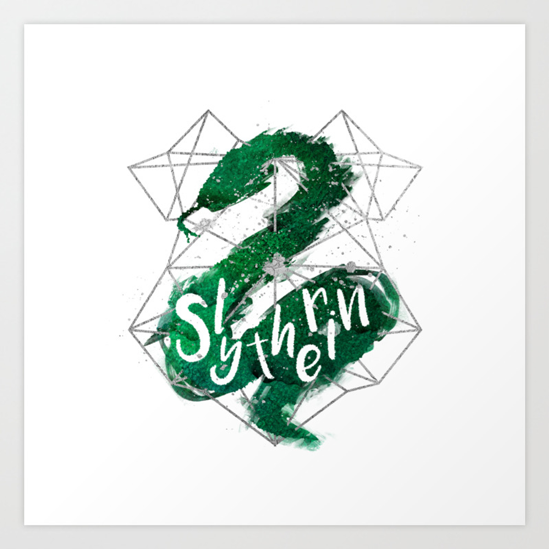 1500x1500 slytherin silver splatter art print