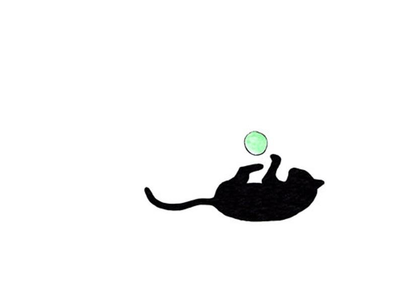 794x567 Simple Cat Drawing Cute Small Art Print Cat Plays Ball Etsy