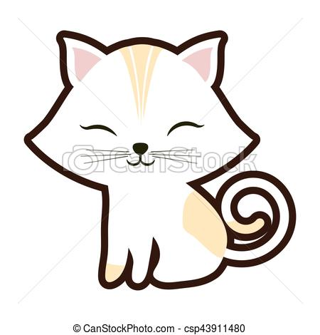 450x470 White Small Cat Sitting Stripes Yellow Closed Eyes Vector