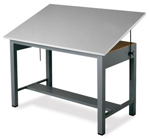 300x281 Mayline Economy Ranger Steel Four Post Drawing Tables