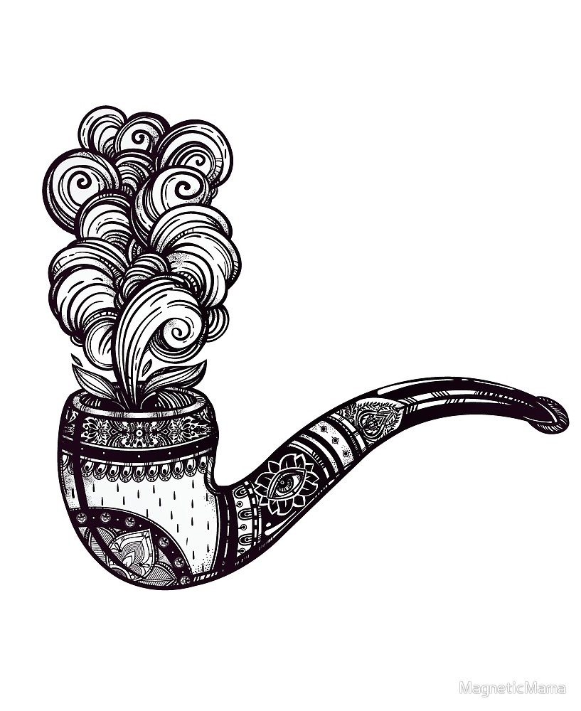 817x1000 Tobacco Pipe With Puff Of Smoke Ornate Pipe Drawing