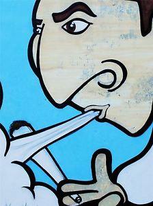 224x300 Art Print Poster Painting Drawing Graffiti Guy Smoke Joint Weed