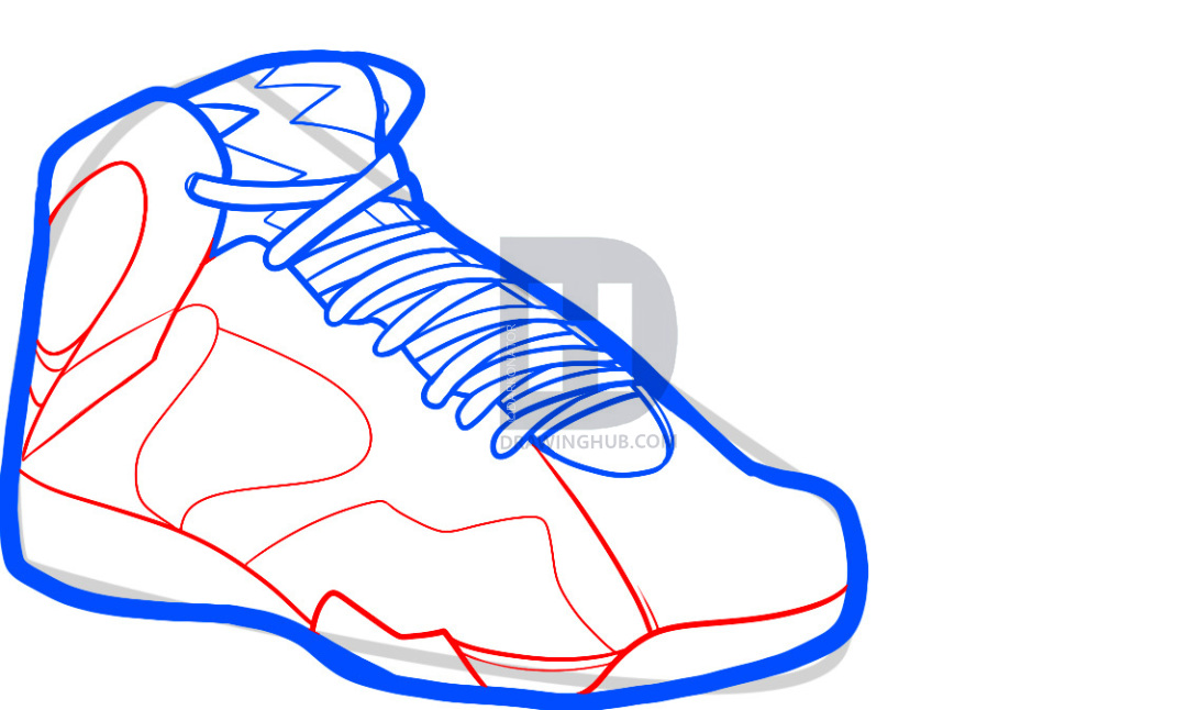 1080x646 How To Draw Air Jordan Bordeaux, Air Jordans, Step
