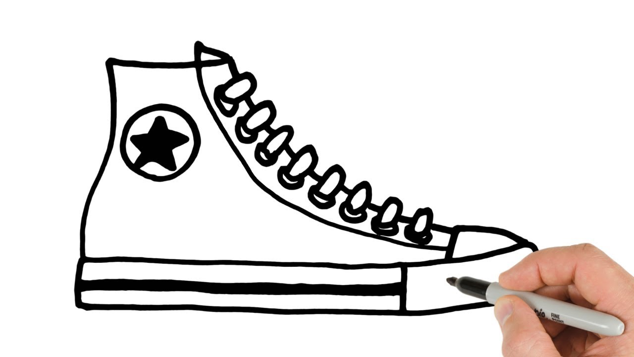 1280x720 How To Draw Converse Shoes Sneakers Easy Drawing