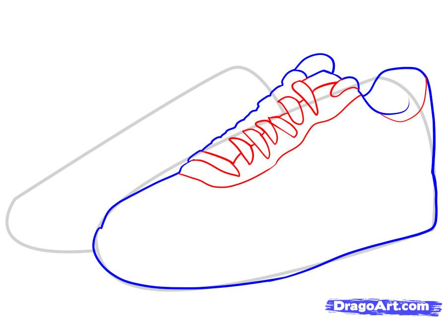893x642 How To Draw Nike, How To Draw Air Force Ones, Step