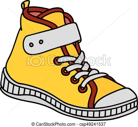 450x416 Yellow Childrens Sneaker Hand Drawing Of A Yellow, Red And White