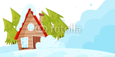 400x200 snow falling down on living house avalanche disaster winter