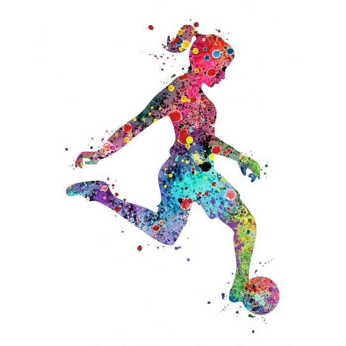 700x700 girl soccer player watercolor print sports print soccer player