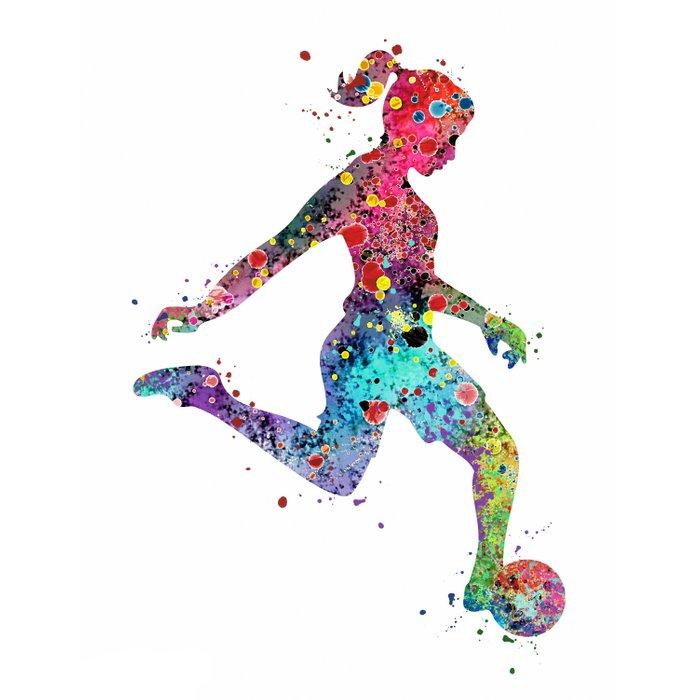 700x700 girl soccer player watercolor print sports print soccer player