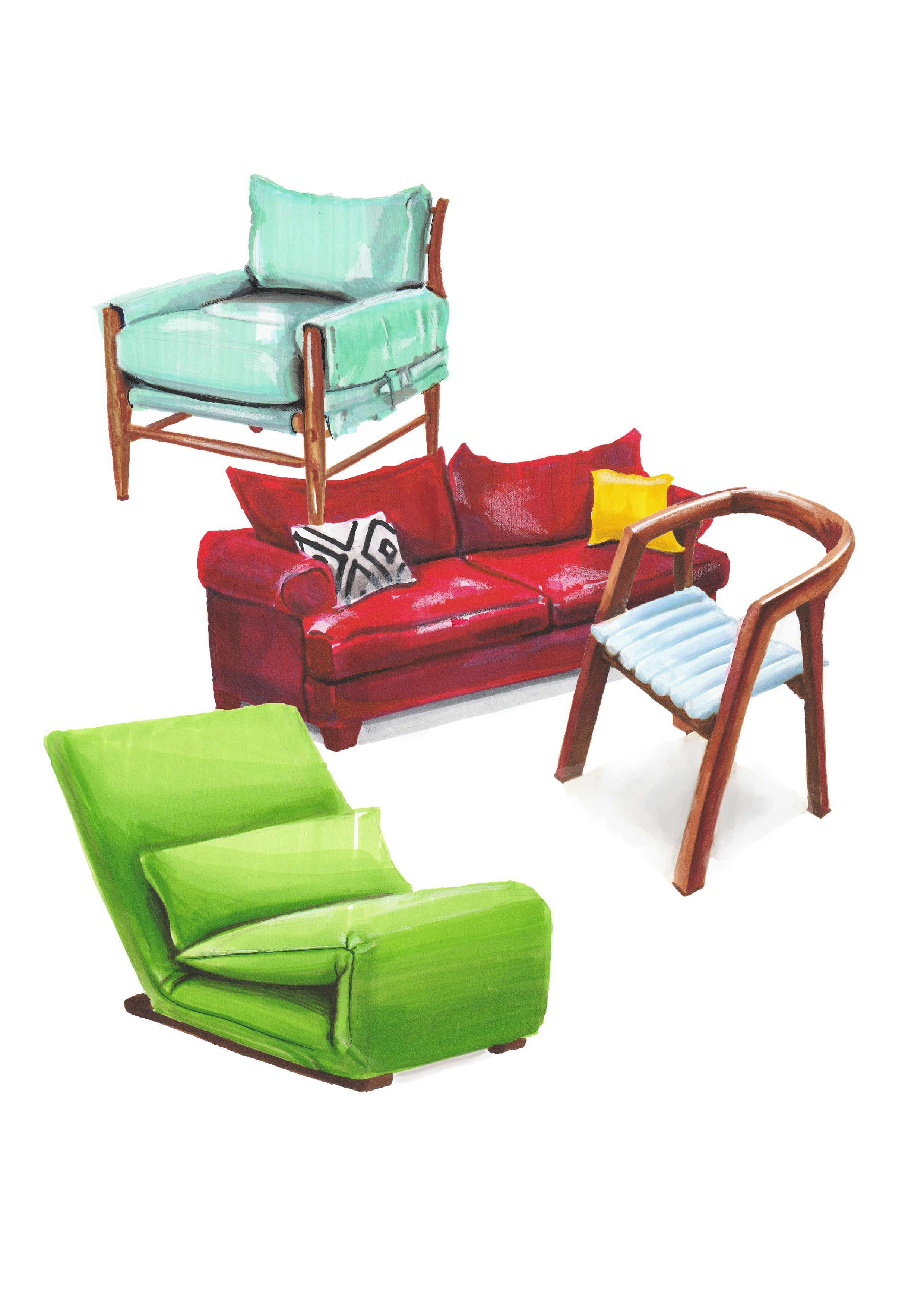 2480x3508 Furniture Sketch Marker Sofa Chair