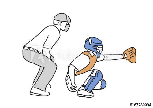 500x354 baseball player and softball player, line drawing hand drawn