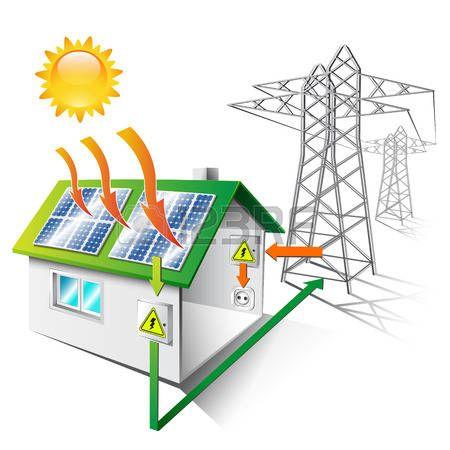 450x450 stock vector energy how solar power works, solar energy system