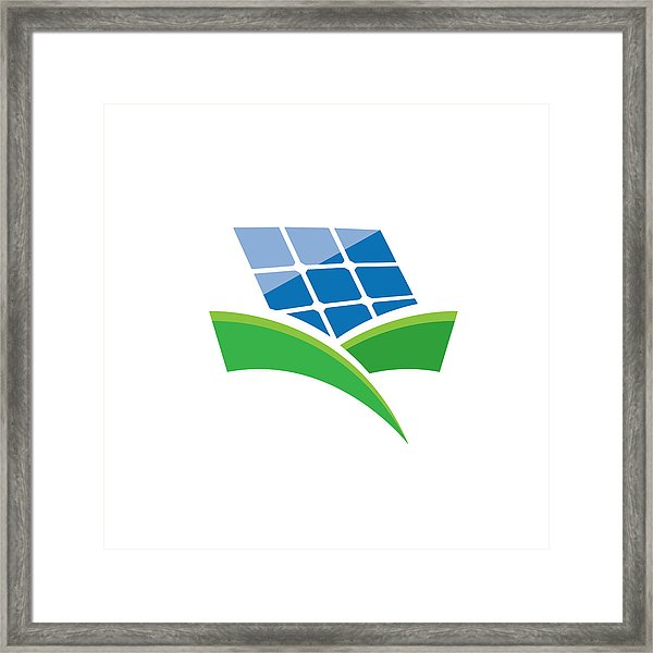 600x600 Vector Sign Solar Panel, Green Energy And Renewable Framed Print