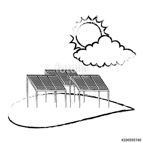 500x500 Ecology Energy Alternative Sustatinable Solar Panel Cloud And Sun