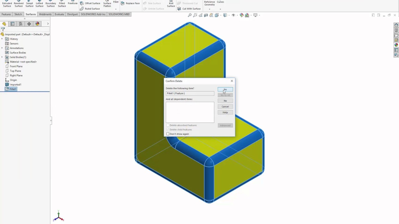 1280x720 Solidworks Tutorial How To Remove Simple Rounds And Fillets