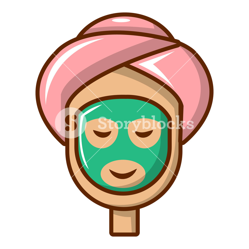 1000x1000 spa facial clay mask icon cartoon illustration of spa facial clay