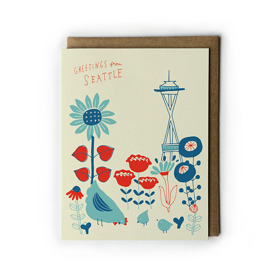 570x570 seattle greeting card seattle space needle vintage flower cards