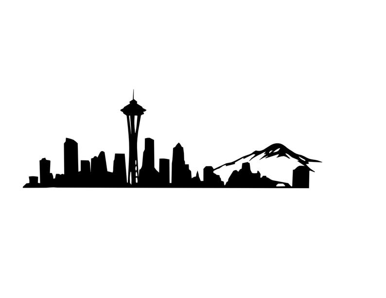 794x613 seattle skyline decal seattle decal space needle etsy