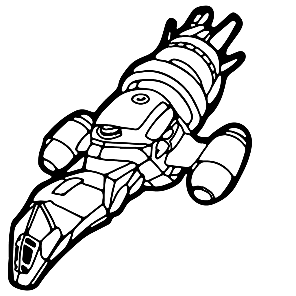 Spaceship Line Drawing