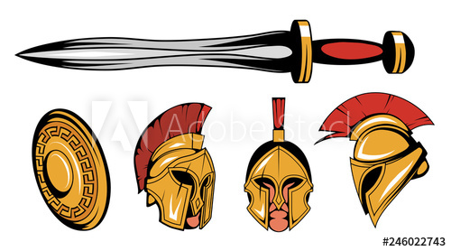 500x278 set of roman or spartan warrior head, spartan helmet for head