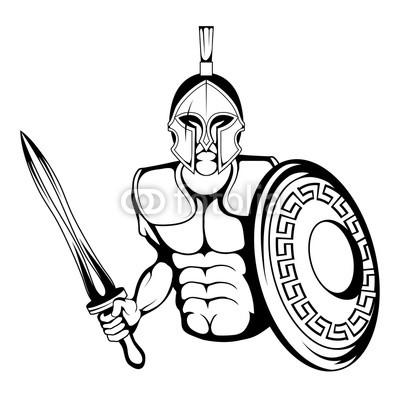 400x400 spartan warrior suitable as logo or team mascot, vector graphics