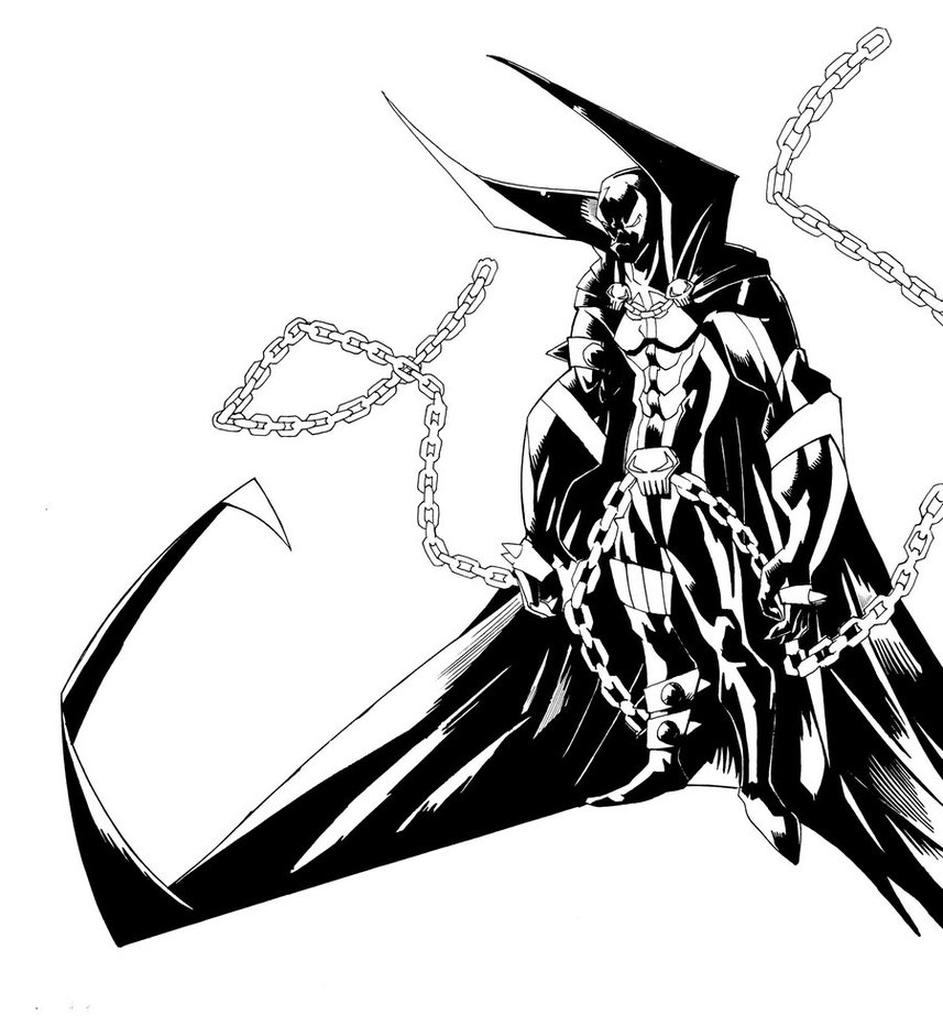 857x932 Spawn Drawing Black And White For Free Download
