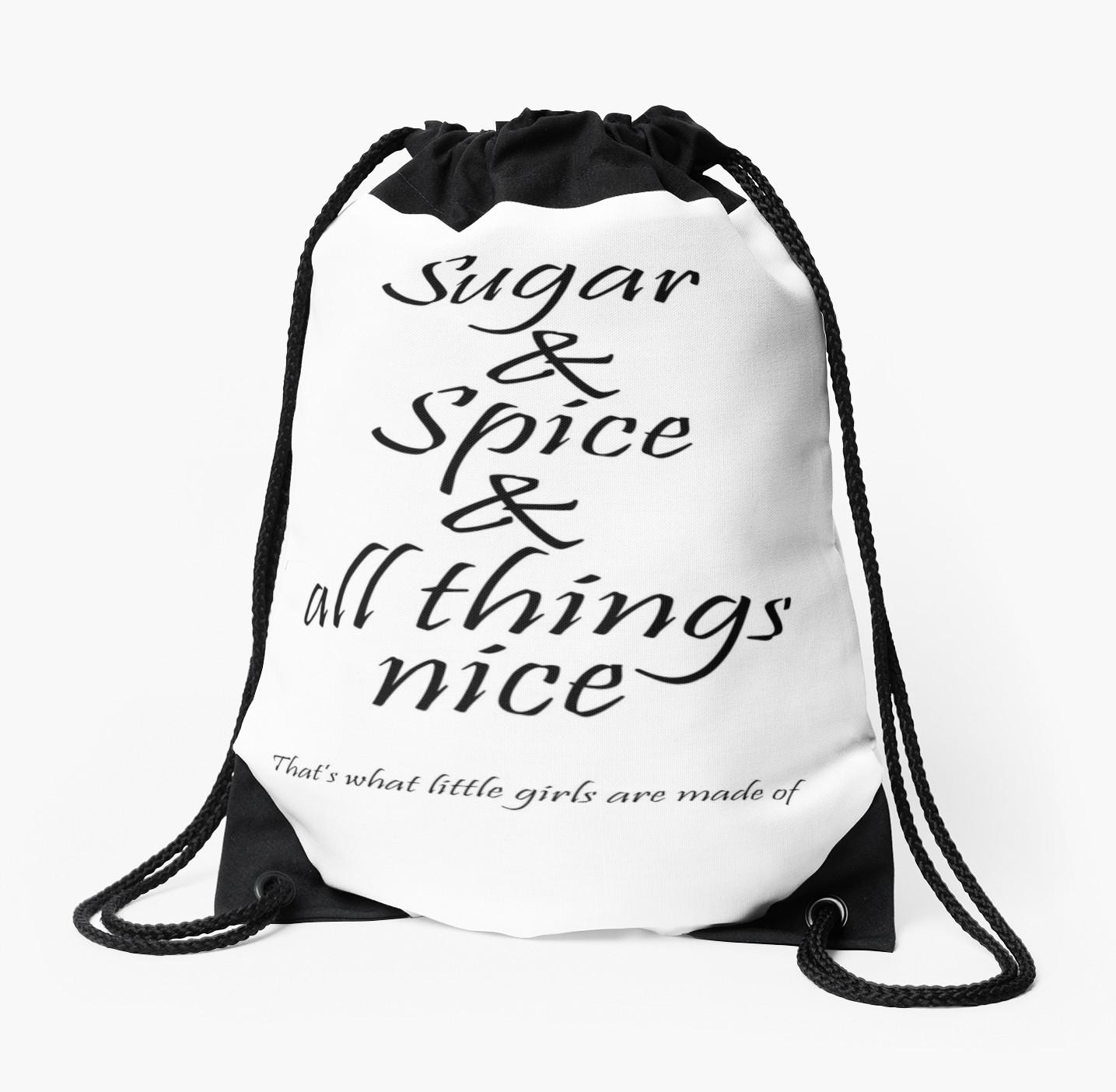 1435x1404 girls, granddaughter, nursery rhyme, sugar and spice drawstring
