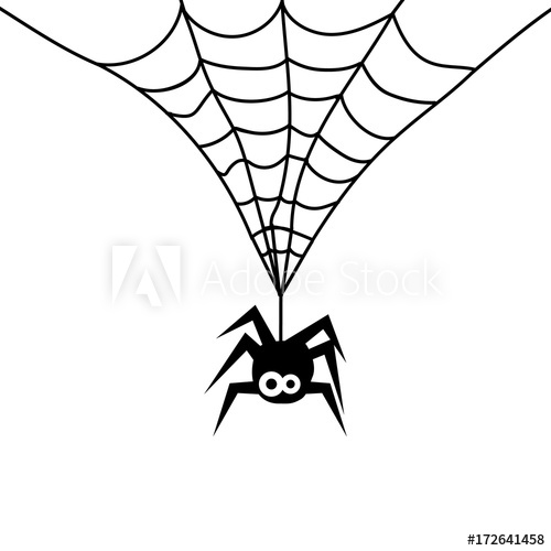 500x500 cute spider on web white background background of spider on web