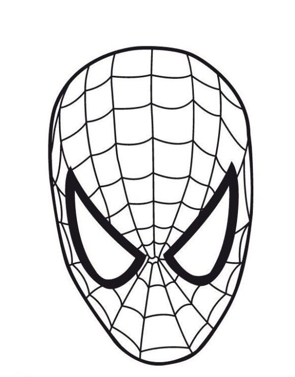 580x741 Printable Spider Man Mask Coloring Page
