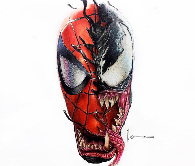 750x640 Spider Man And Venom Pencil Drawing