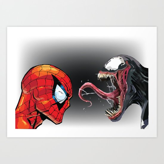 550x550 Spiderman Vs Venom Art Print