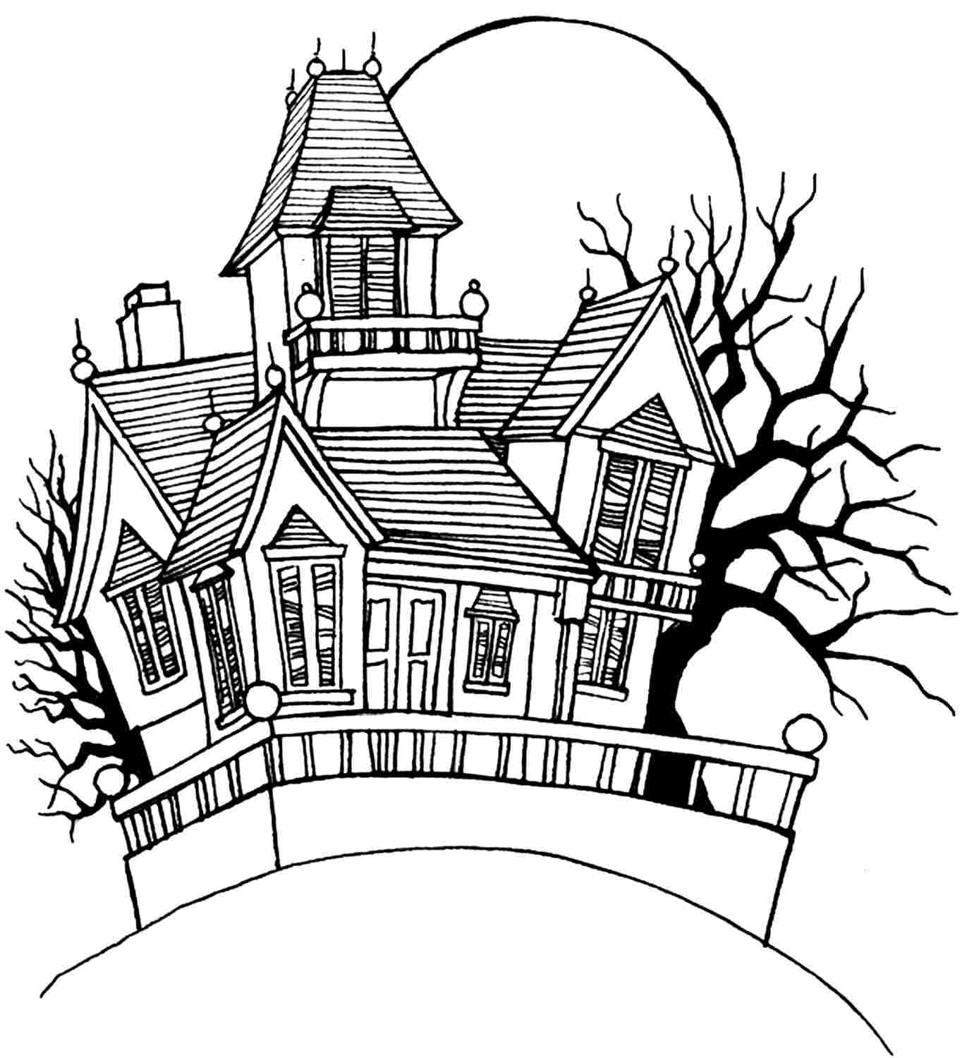 Spooky House Drawing | Free download on ClipArtMag