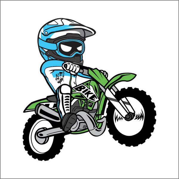 600x600 Cartoon Dirt Bike Sticker Motocrsoss Bike Stickers, Dirt Bikes