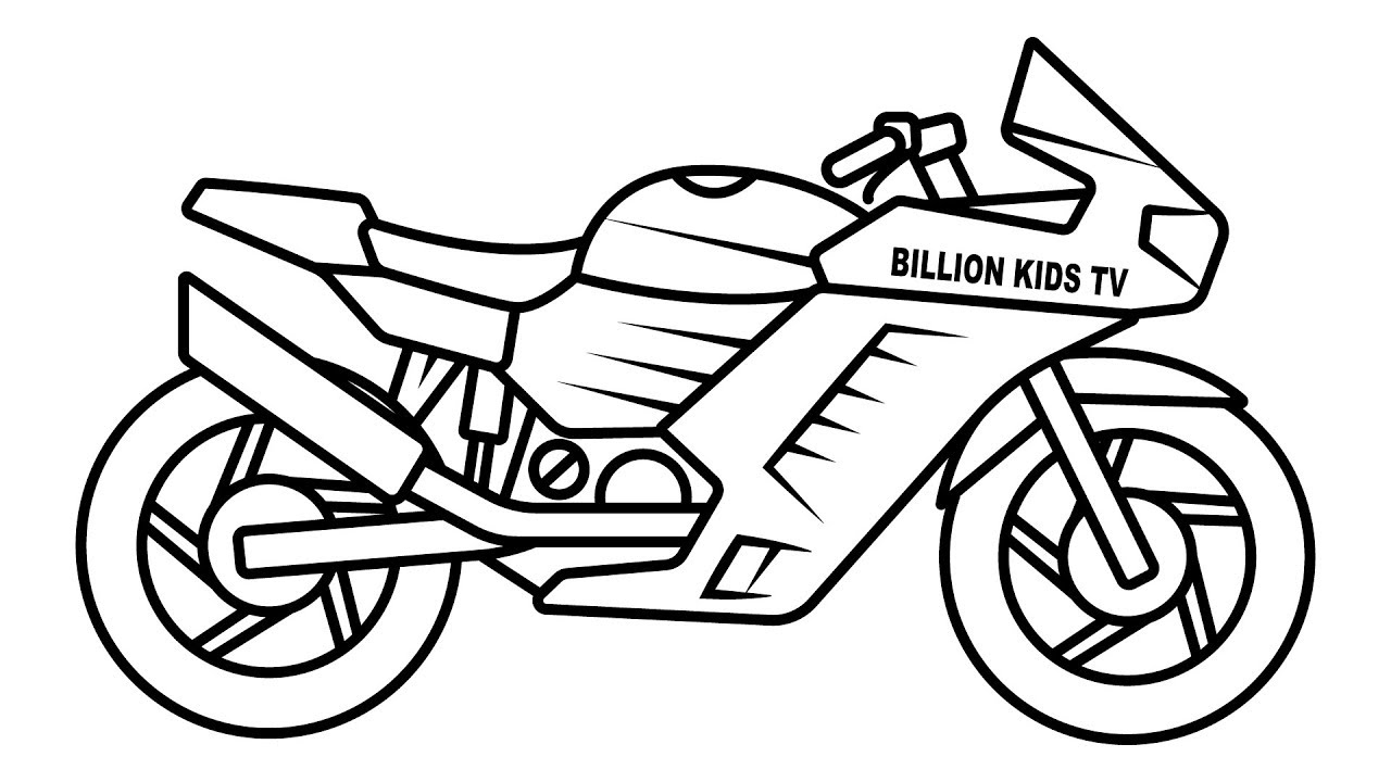 1280x720 Drawing Sport Bike Coloring For Kids