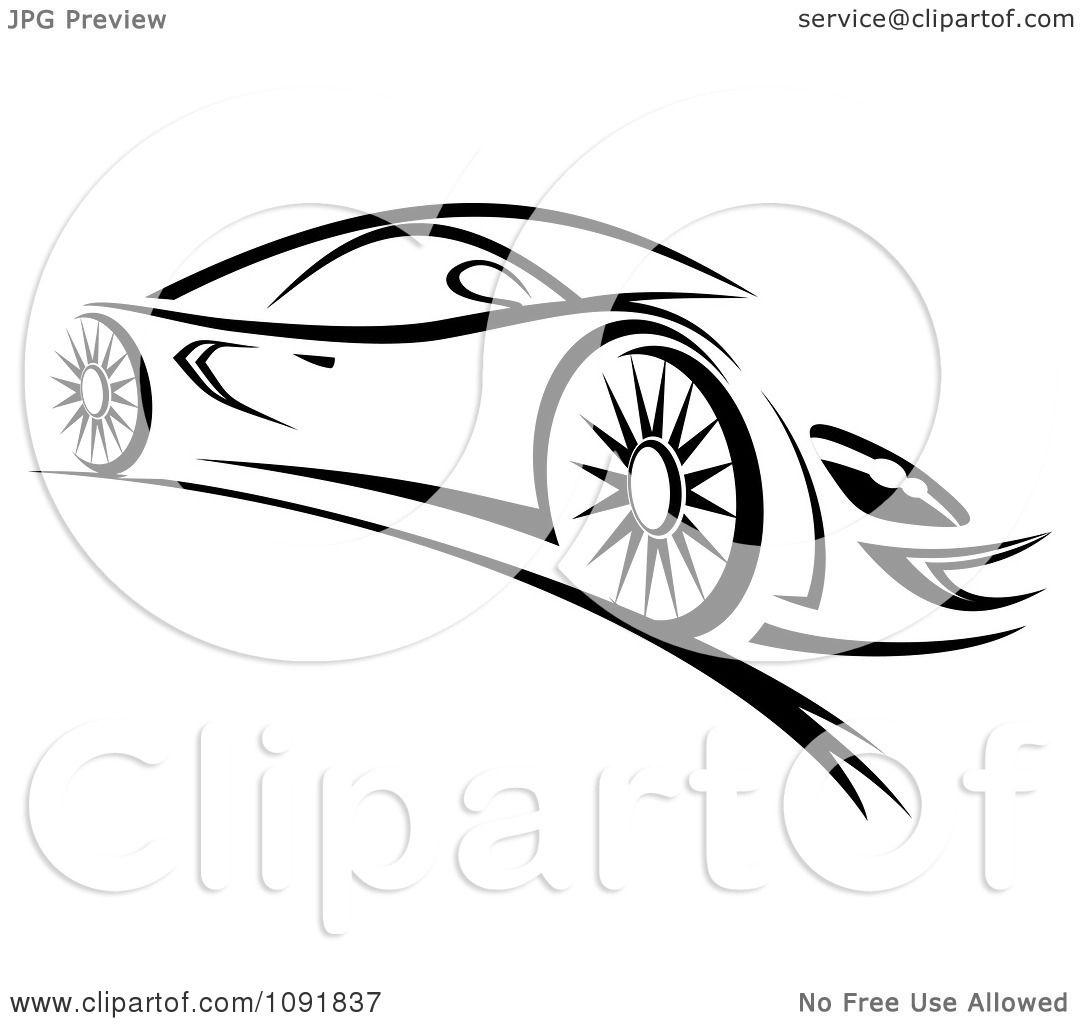1080x1024 Clipart Black And White Sleek Sports Car