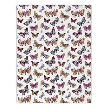 450x450 Polyester Rectangular Tablecloth,butterfly,doodle Drawing Style