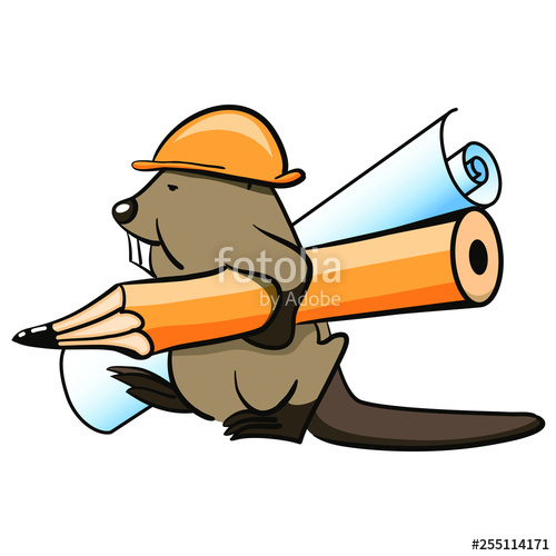 500x500 Beaver With A Pencil And Construction Drawing Stock Image