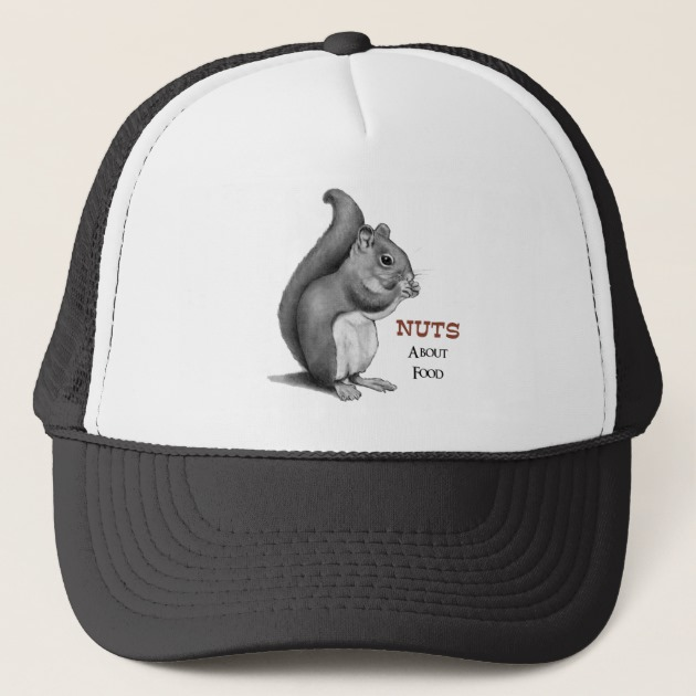 630x630 Nuts About Food Squirrel Pencil Drawing Trucker Hat
