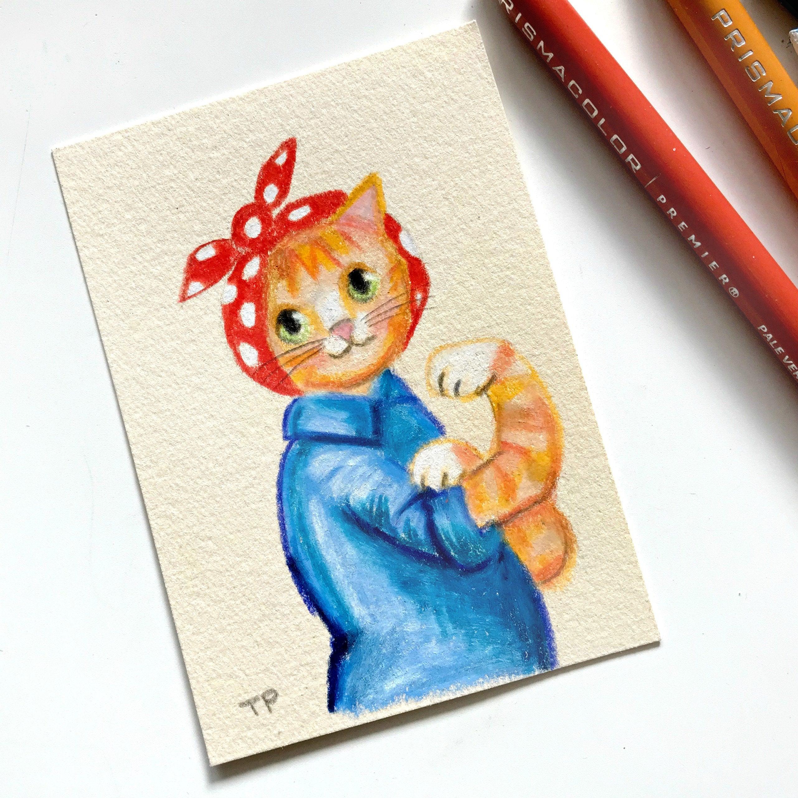 2562x2562 Original We Can Do It Orange Tabby Cat Drawing Cat Empowerment Etsy