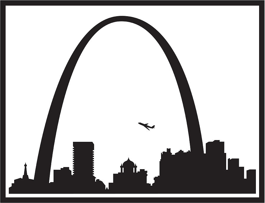 900x690 St Louis Skyline Silhouette Drawing