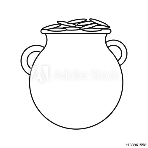 500x500 St Patrick Day Pot Coins Outline Vector Illustration