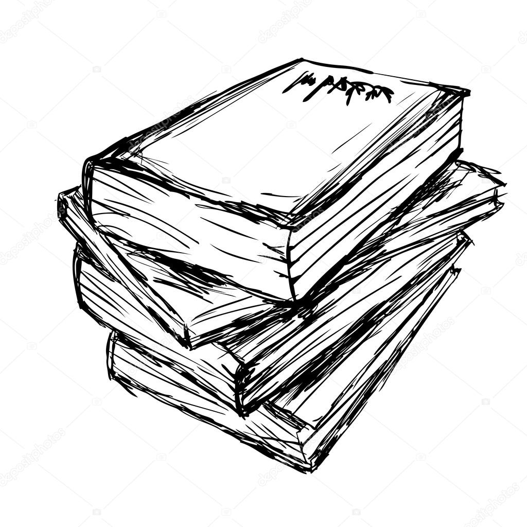 Stack Of Books Drawing