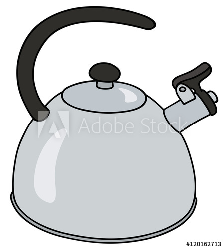 450x500 Hand Drawing Of A Modern Stainless Steel Kettle