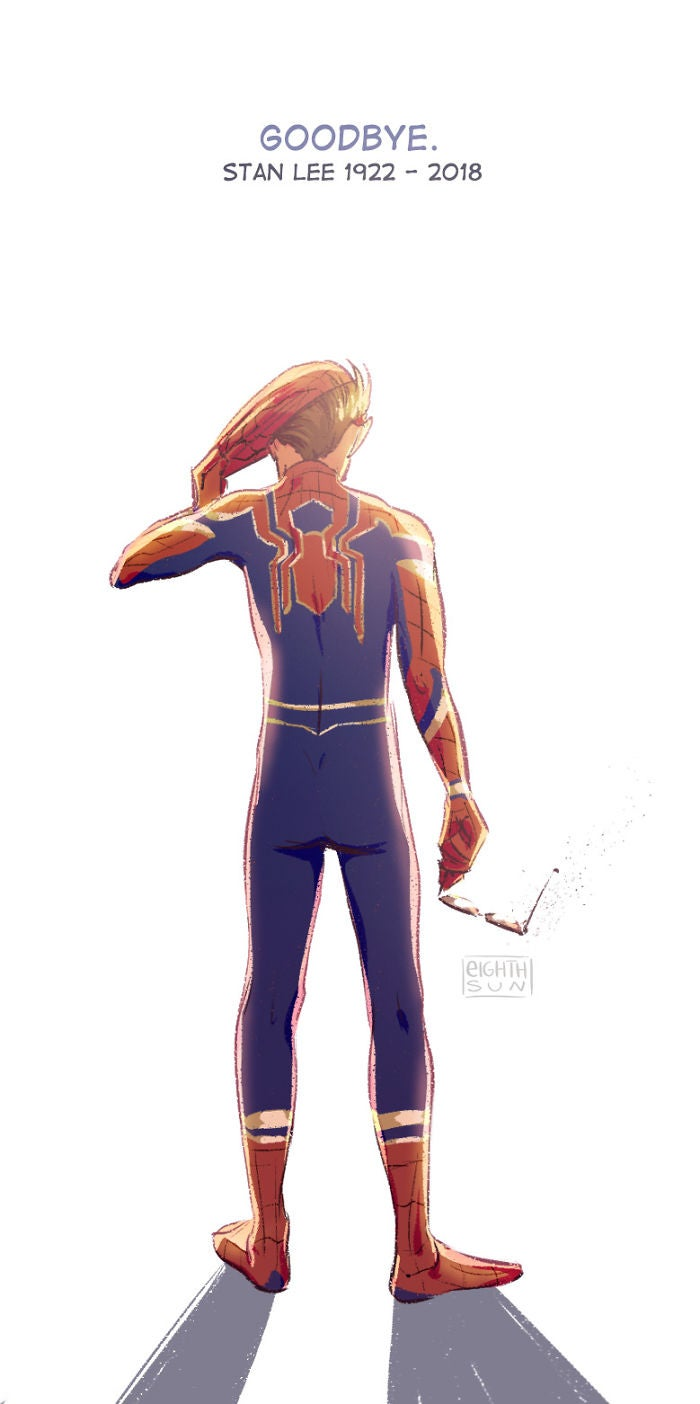 Stan Lee Drawing Spiderman