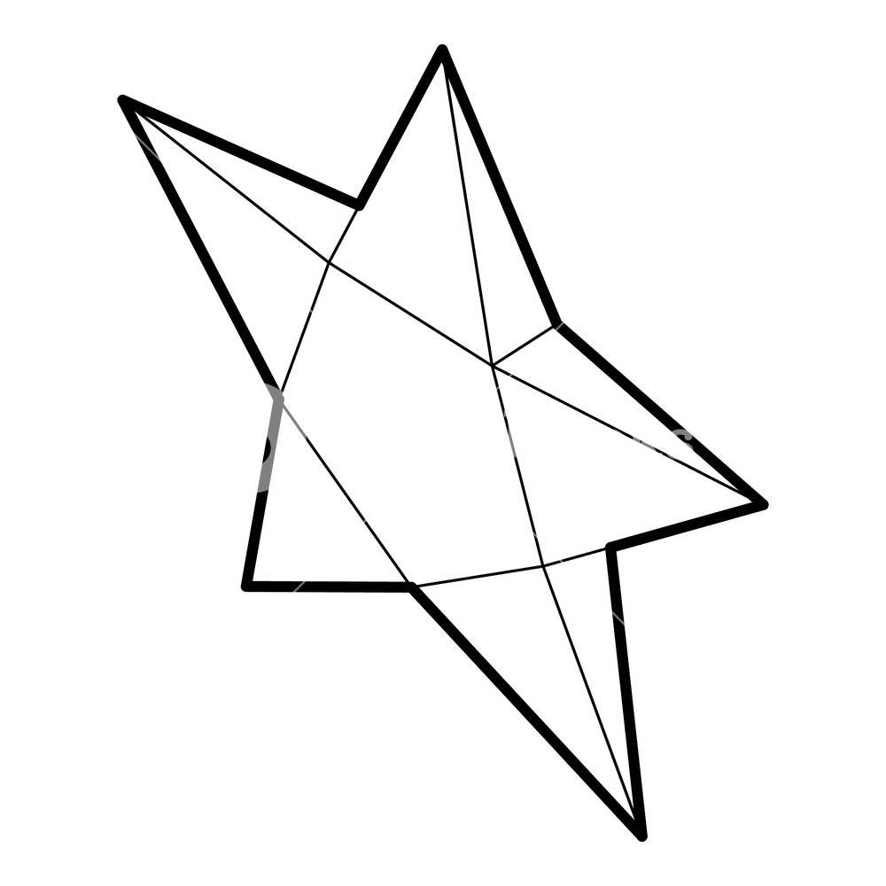 1000x1000 Pointed Star Icon In Outline Style On A White Background Vector
